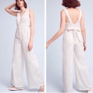 Chino by Anthropologie white wife leg jumpsuit